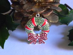 Christmas Wreath Rhinestone Pendant with Red Bow Perfect for Bubble Necklace Key Chain Zipper Pull Christmas Jewelry Holiday Ornament Charm by HouseofHairDecor on Etsy