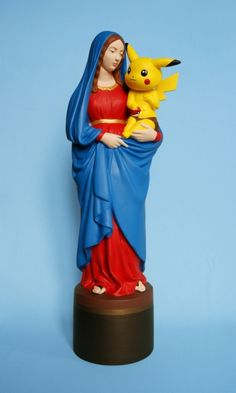 artist takes cultural imagery and applies it to iconic figures like the Virgin Mary, Pokemon, etc.