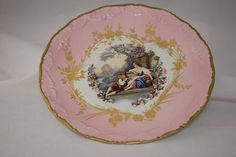 Beautiful Vintage Pink Limoges Cabinet Plate Courting Couple