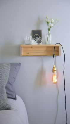 Small space ikea hack: turn the bekvam spice rack into a bedside shelf — video from apartment therapy Ikea Hack Bookcase, Ikea Hack Nightstand, Ikea Hack Bedroom, Ikea Hack Storage, Ikea Hack Kids, Bedside Shelf, Bedroom Hacks, Ikea Hacks, Nightstands
