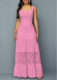 Pink Graduation Maxi Dress 2019 Cotton Dress Square Neck Dress Button Detail Sleeveless Open Back Lace Dress Source by yeisonpitti dresses Women's Fashion Dresses, Sexy Dresses, Cute Dresses, Casual Dresses, Summer Dresses, Dresses Dresses, Party Dresses, Awesome Dresses, Frack