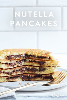 Nutella Pancakes - Anything chocolate filled is always better, right? You'll love these delicious Nutella pancakes.