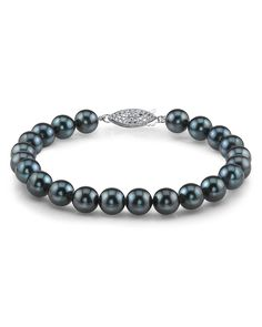14K Gold 7.0-7.5mm Japanese Akoya Black Cultured Pearl Bracelet -- Continue to the product at the image link.