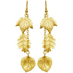 """Vintage 2.5"""" Three Leaf Earrings, Quality Made in USA, Signed JJ"""