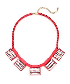 Future Highlights Statement Necklace - Neon Pink $18