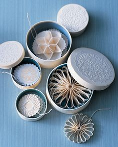 How to by Martha Stewart crafts. Let easily crafted snowflake-inspired ornaments made of cloth, ribbon, veneer, string, and paper fill your tree. Noel Christmas, Diy Christmas Ornaments, All Things Christmas, Handmade Christmas, White Christmas, Holiday Crafts, Snowflake Ornaments, Handmade Ornaments, Xmas