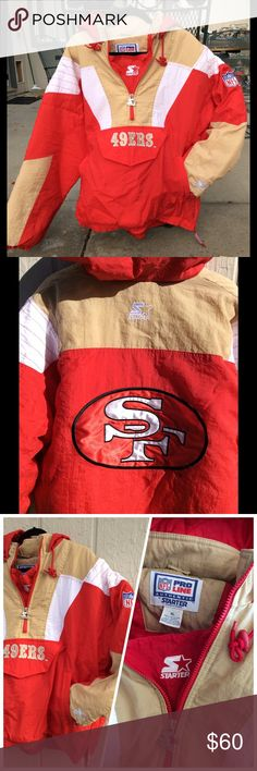 "Starter Proline 49ers 1/2 zip insulated jacket XL Vintage Excellent used condition. 1/2 zip pullover insulated Proline 49ers jacket by Starter. side 1/4 hem zipper, front hand warmer pouch & Velcro closure pouch.  Toggled drawstring hood & stand up collar. XL 30"" across chest, 31"" long. Real clean, real sweet! Starter Jackets & Coats"