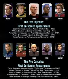 StarTrek: The Five Captains~ first time/last time on screen