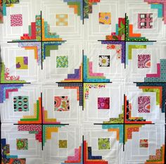 Great design and lovely colors in this Converging corners pieced quilt.