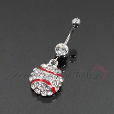 baseball belly ring with diamonds.