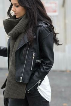 Love that scarf and leather jacket combo!