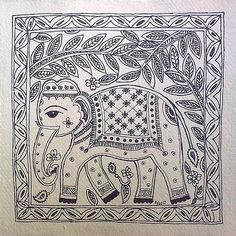 Pinner said-Madhubani Elephant Black White - design for my handmade greetingcards. Madhubani Art, Madhubani Painting, Krishna Painting, Worli Painting, Fabric Painting, Elephant Black And White, Black White, Art Indien, Indian Animals