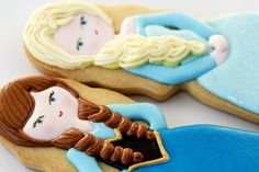 Fondant Cookies, Galletas Cookies, Royal Icing Cookies, Cupcakes, Cartoon Cookie, Magic Party, Frozen Cookies, Frozen Elsa And Anna, Princess Cartoon