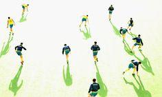 Il magico rapporto tra ombra e corpo.  L'Osservatorio Labodif Sport lavora sui segni di 'differenza' nelle foto di sport. Due le ragioni prevalenti: o perchè l'immagine scelta recupera il senso vero della parola competizione - cum petere = cercare insieme, o perché come in questo caso, l'immagine sportiva allude e disegna qualcosa che va oltre sé. Qui siamo all'Hockey Champions Trophy: giocatori australiani durante il riscaldamento prima della partita con il Pakistan).  Ph. Scott Barbour