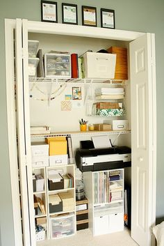 Small office/craft closet - I need to do this to our office closet. Not because it's small, but because I crave organization!! :)