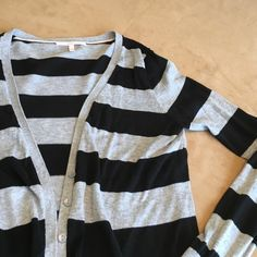 Victoria's Secret black & gray striped cardigan. Victoria's Secret black & gray striped long sleeve cardigan. Excellent like-new condition. 100% cotton. Victoria's Secret Sweaters Cardigans