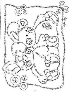Patchwork Bunnies/ Tattered Bunnies - Coloring Page/Line Art Drawing/B&W Image Easter Coloring Pages, Coloring Book Pages, Coloring Pages For Kids, Embroidery Stitches, Embroidery Patterns, Hand Embroidery, Copics, Digital Stamps, Applique Templates