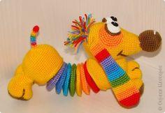 Игрушка Вязание крючком Такса Радужка  Пряжа фото 1