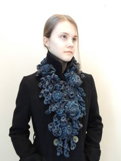 RoseOnie Scarf in a soft bulky Merino Wool Blue by IntricateKnits, $95.00