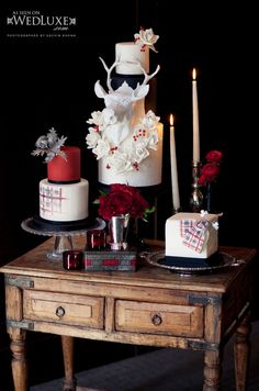 Style File: Cabin Couture | WedLuxe Magazine - deer cake, cakes by anna elizabeth cakes