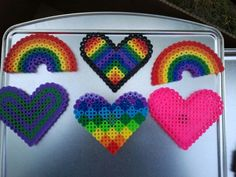perler hearts and rainbows