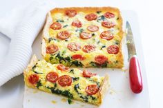 Spinach, feta & tomato slice Served hot from the oven for dinner, or cold for lunch, this creamy slice is a winner at any time of day. Vegetable Dishes, Vegetable Recipes, Vegetarian Recipes, Cooking Recipes, Healthy Recipes, Healthy Savoury Snacks, Vegetarian Buffet, Healthy Mummy, Savoury Slice
