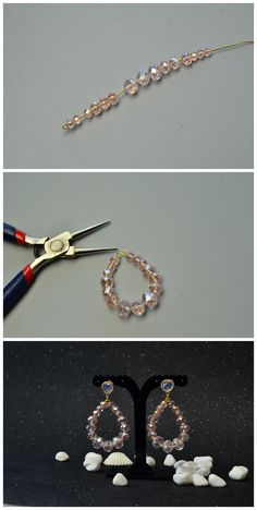 DIY Crystal earrings You are in the right place about DIY Earrings button Here we offer you the most Wire Jewelry Designs, Jewelry Patterns, Jewelry Crafts, Bead Jewellery, Beaded Jewelry, Diy Jewelry Inspiration, Jewelry Ideas, Diy Crystals, Earrings Handmade