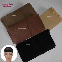 Casquillo de la peluca Para la Fabricación de Pelucas 24 Unids Malla Tapas Peluca de Pelo Ajustable Caps Negro Casquillo de la Peluca Malla Gorras