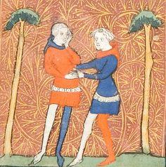 Amis Again Counsels L'Amans, Roman de la Rose, 14th century (1365), University of Chicago Library, MS 1380, fol 19v