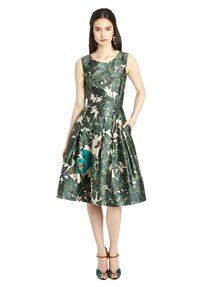 SLEEVELESS PARROT PRINT EMBROIDERED DRESS