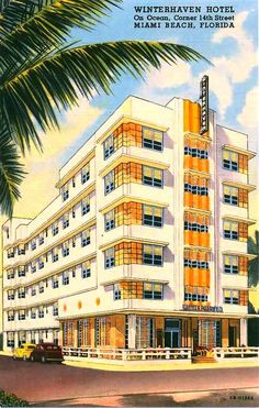 ️Vintage Miami Beach Hotel... Old Florida Postcard.