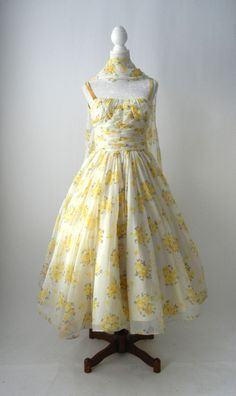 Vintage 1950s Yellow Floral Chiffon Dress by FRANK STARR, Small