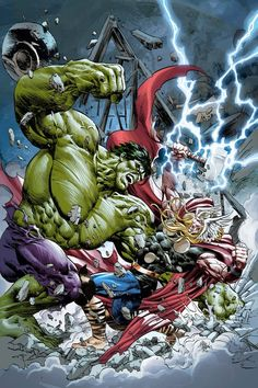 The Incredible Hulk Battles The Mighty Thor by Mike Deodato Jr.