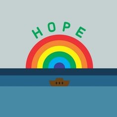 A modern illustration of a rainbow with a boat in water and the text 'Hope' with a white border. Novogratz Values - Hope Wall Art by The Novogratz from Great BIG Canvas. Canvas Frame, Canvas Art, Canvas Prints, Big Canvas, Ad Of The World, Morning Sky, Blue Art, Frame Shop, Art Decor
