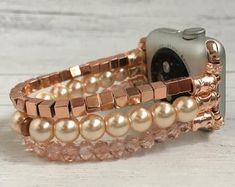 Check out our beaded watch band selection for the very best in unique or custom, handmade pieces from our watch bands & straps shops. Apple Watch Bracelet Band, Apple Watch Bands, Beaded Watches, Leather Anniversary Gift, Amethyst Gemstone, Beaded Bracelets, Phone, Unique Jewelry, Pattern