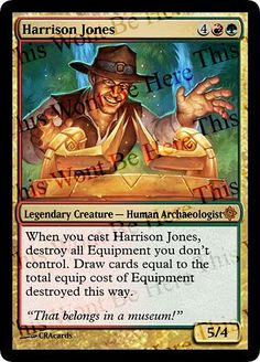 Magic the Gathering Parody Foil Card: Harrison Jones by CRAcards on Etsy