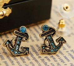 'Betsey Johnson Anchor Stud Earrings ' is going up for auction at  1pm Sat, May 18 with a starting bid of $6.