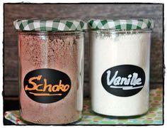 Vanille- und Schokoladen-Puddingpulver und Soßenpulver selbst gemacht