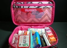 First aid kit/other necessities for the diaper bag all contained in a zipped make up bag.  Would also be an awesome idea for car 72 hour kit, or to keep in a purse.