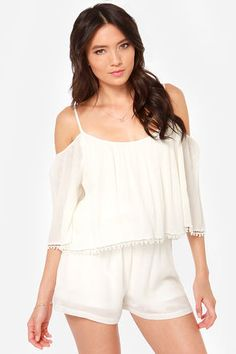 Inspiration only: Desert Breeze Off-the-Shoulder Ivory Romper, soo making this t-shirt next summer