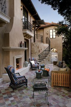 Rustic patio curved wall edges