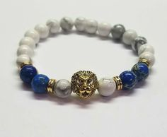 White Turquoise Lapis Lazuli Gold Lions Head *All designs can be altered using the beads of your choice. Lapis Lazuli, Natural Gemstones, Blue And White, Beaded Bracelets, Turquoise, Couture, Beads, Gold, Jewelry