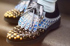 PRADA bedazzled brogues! Dorothy and her lil red shoes ain't got nothing on these. PREACH