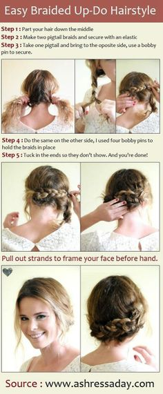 Trendy Hair Styles For School Medium Hair Updo Popular Haircuts Ideas Updo Hairstyles Tutorials, Down Hairstyles, Pretty Hairstyles, Braided Hairstyles, Braided Updo, Style Hairstyle, Hairstyle Ideas, Low Bun Updo, Bun Braid