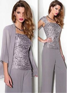 Wonderful Pant Suits Chiffon & Lace Square Neckline Full-length Mother Of The Bride Dresses