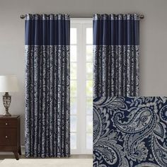 Navy Living Rooms, Dining Room Blue, Living Room Colors, Navy Curtains, Window Curtains, Outdoor Curtains, Curtains Living, Bedroom Curtains, Blackout Curtains