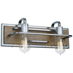 """Varaluz Lofty 6""""H 2-Light Wheat and Steel Wall Sconce"""