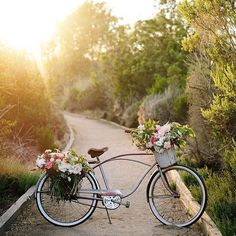Riding off into the sunset after a perfect holiday weekend Life Is Like, Life Is Beautiful, Beautiful Flowers, Real Simple Magazine, Antique Bicycles, Outdoor Entertaining, Paths, Beautiful Pictures, Sunset