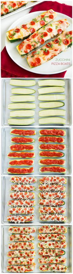 We think this is a fun & healthy idea! Zucchini Pizza Boats - (Original) They are INCREDIBLY good and only take about 10 minutes prep! My whole family loved them (picky eaters included). Healthy Snacks, Healthy Eating, Healthy Recipes, Zucchini Pizza Boats, Zucchini Slice, Healthy Zucchini, Zucchini Pizza Recipes, Veggie Recipes, Cooking Recipes