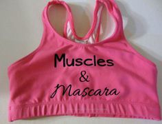 Muscles and Mascara Cotton Sports Bra Cheerleading, Yoga, Running, Working Out from SparkleBowsCheer on Etsy. Saved to Things I want as gifts. Cheer Sports Bras, Cotton Sports Bra, Cute Sports Bra, Sport Bras, Cheer Bows, Cheer Outfits, Dance Outfits, Sport Outfits, Cheer Clothes